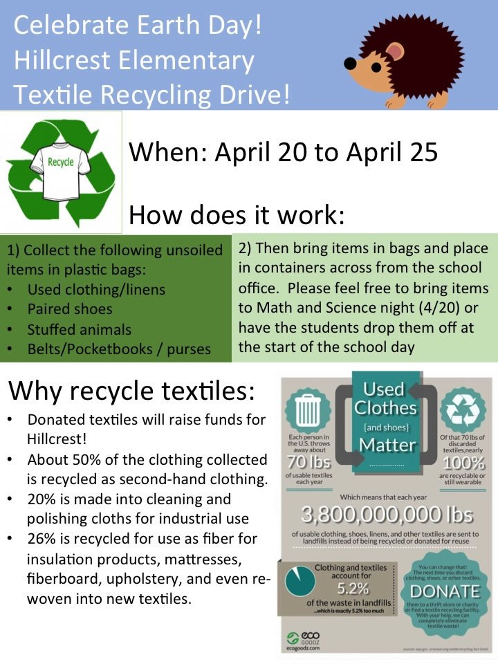 Celebrate Earth Day with the Hillcrest Textile Recycling Drive